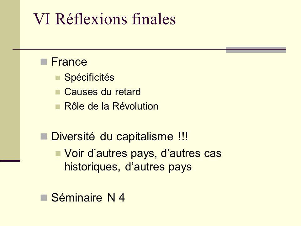 France Spécificités Causes du retard Rôle de la Révolution Diversité du capitalisme !!! Voir dautres pays, dautres cas historiques, dautres pays Sémin