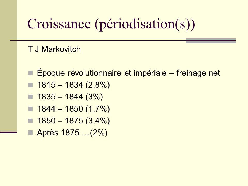 Croissance (périodisation(s)) T J Markovitch Époque révolutionnaire et impériale – freinage net 1815 – 1834 (2,8%) 1835 – 1844 (3%) 1844 – 1850 (1,7%)