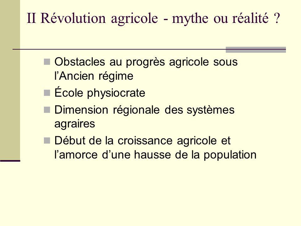 II Révolution agricole - mythe ou réalité ? Obstacles au progrès agricole sous lAncien régime École physiocrate Dimension régionale des systèmes agrai