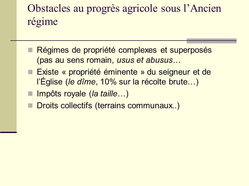 Obstacles au progrès agricole sous lAncien régime Régimes de propriété complexes et superposés (pas au sens romain, usus et abusus… Existe « propriété