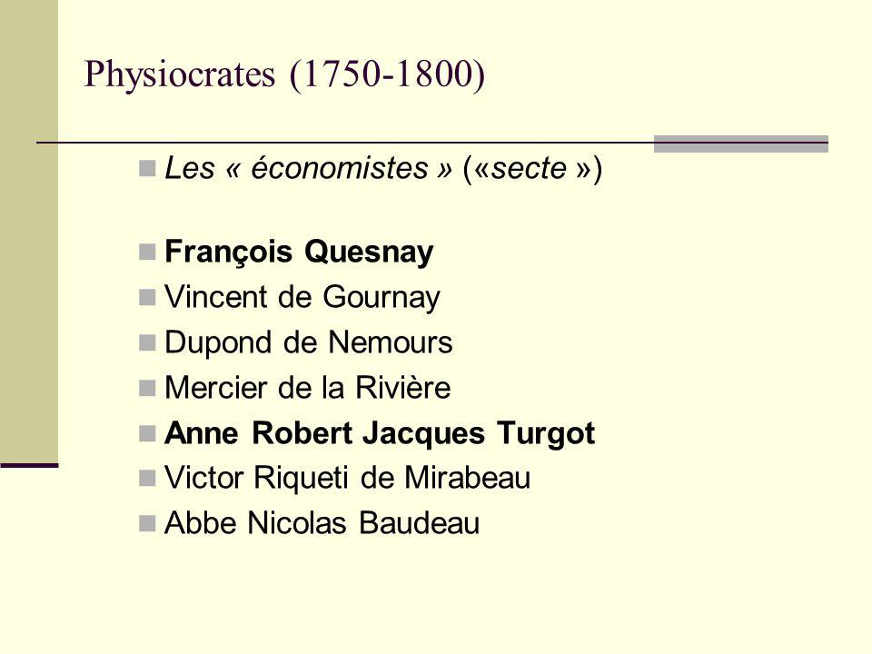 Physiocrates (1750-1800) Les « économistes » («secte ») François Quesnay Vincent de Gournay Dupond de Nemours Mercier de la Rivière Anne Robert Jacque