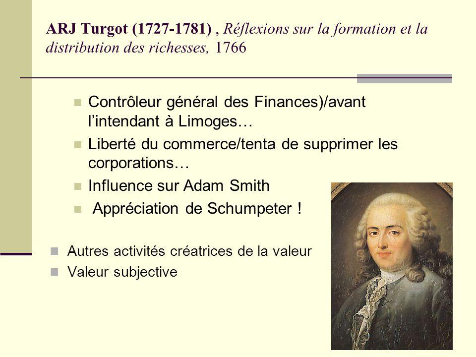 ARJ Turgot (1727-1781), Réflexions sur la formation et la distribution des richesses, 1766 Contrôleur général des Finances)/avant lintendant à Limoges