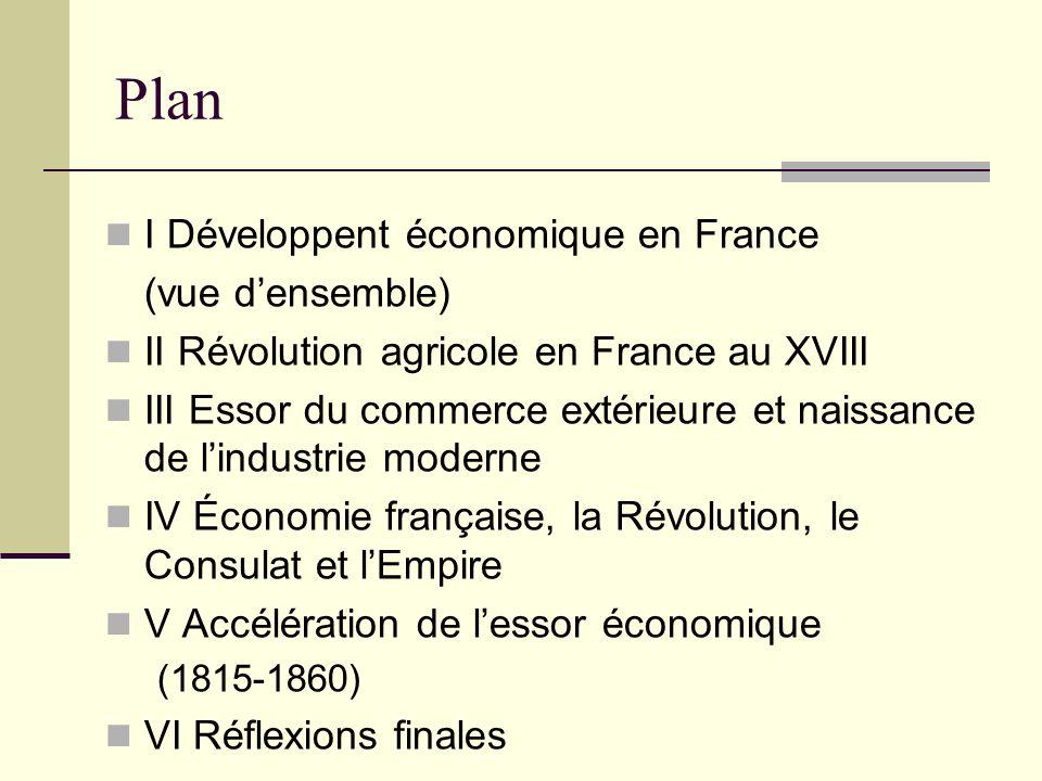 Plan I Développent économique en France (vue densemble) II Révolution agricole en France au XVIII III Essor du commerce extérieure et naissance de lin