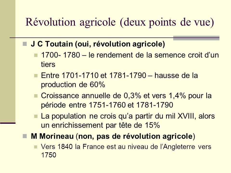 Révolution agricole (deux points de vue) J C Toutain (oui, révolution agricole) 1700- 1780 – le rendement de la semence croit dun tiers Entre 1701-171
