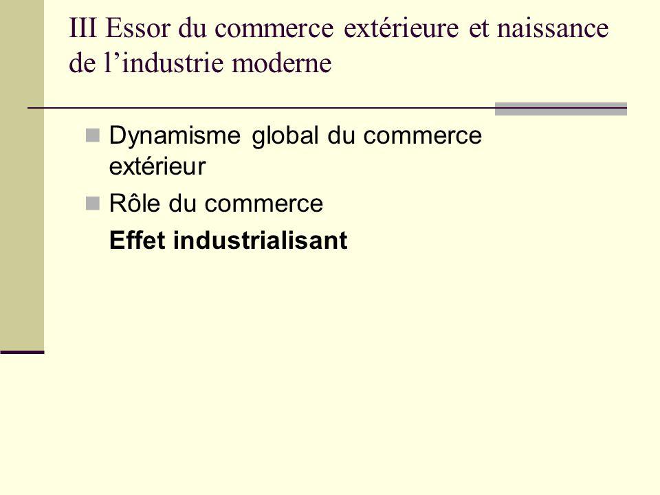 Dynamisme global du commerce extérieur Rôle du commerce Effet industrialisant