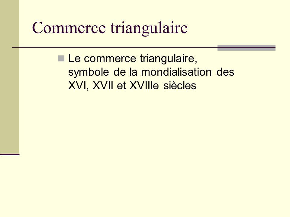 Commerce triangulaire Le commerce triangulaire, symbole de la mondialisation des XVI, XVII et XVIIIe siècles
