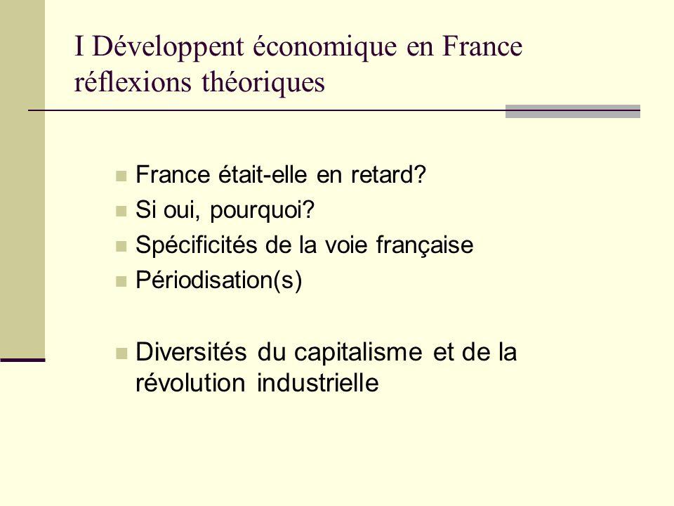 I Développent économique en France réflexions théoriques France était-elle en retard? Si oui, pourquoi? Spécificités de la voie française Périodisatio