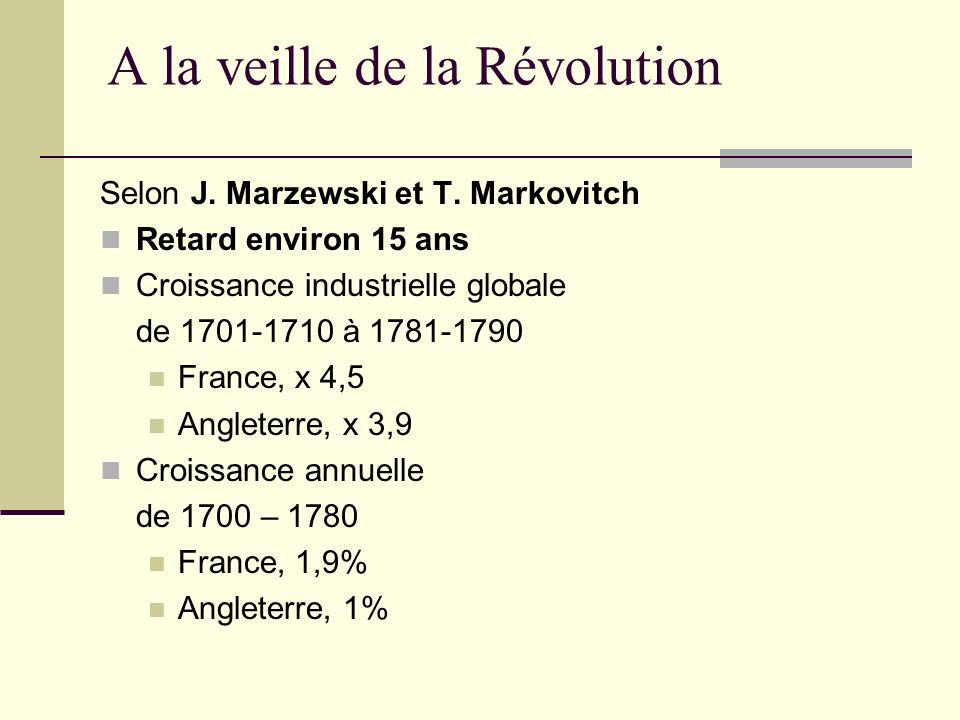 A la veille de la Révolution Selon J. Marzewski et T. Markovitch Retard environ 15 ans Croissance industrielle globale de 1701-1710 à 1781-1790 France
