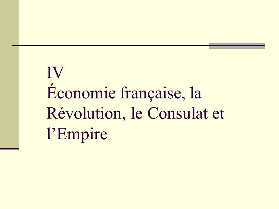 IV Économie française, la Révolution, le Consulat et lEmpire
