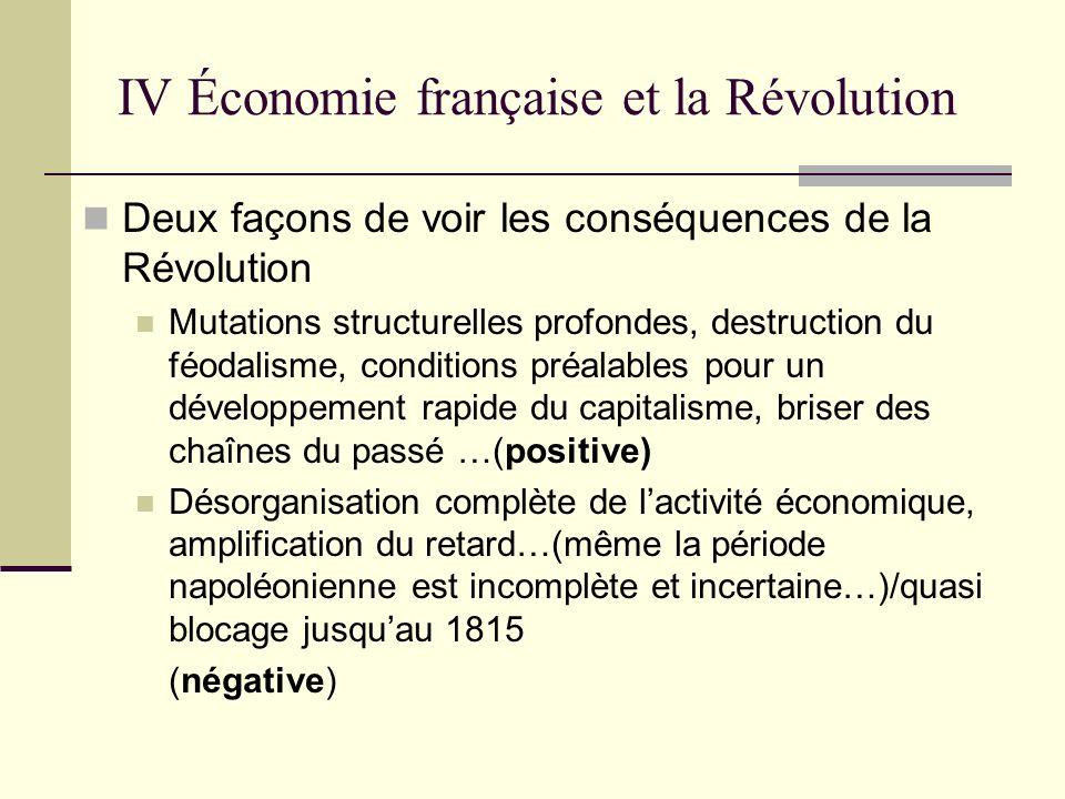 IV Économie française et la Révolution Deux façons de voir les conséquences de la Révolution Mutations structurelles profondes, destruction du féodali