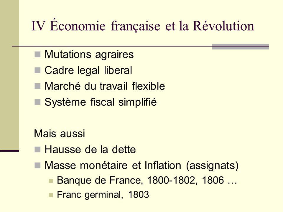 IV Économie française et la Révolution Mutations agraires Cadre legal liberal Marché du travail flexible Système fiscal simplifié Mais aussi Hausse de