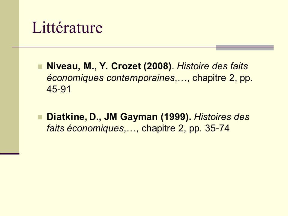 Littérature Niveau, M., Y. Crozet (2008). Histoire des faits économiques contemporaines,…, chapitre 2, pp. 45-91 Diatkine, D., JM Gayman (1999). Histo