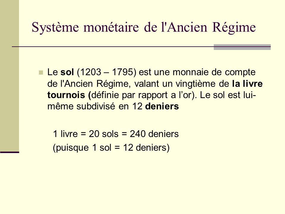 Le sol (1203 – 1795) est une monnaie de compte de l'Ancien Régime, valant un vingtième de la livre tournois (définie par rapport a lor). Le sol est lu