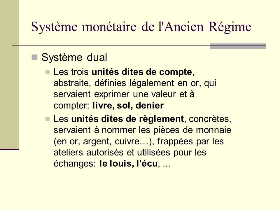 Système dual Les trois unités dites de compte, abstraite, définies légalement en or, qui servaient exprimer une valeur et à compter: livre, sol, denie