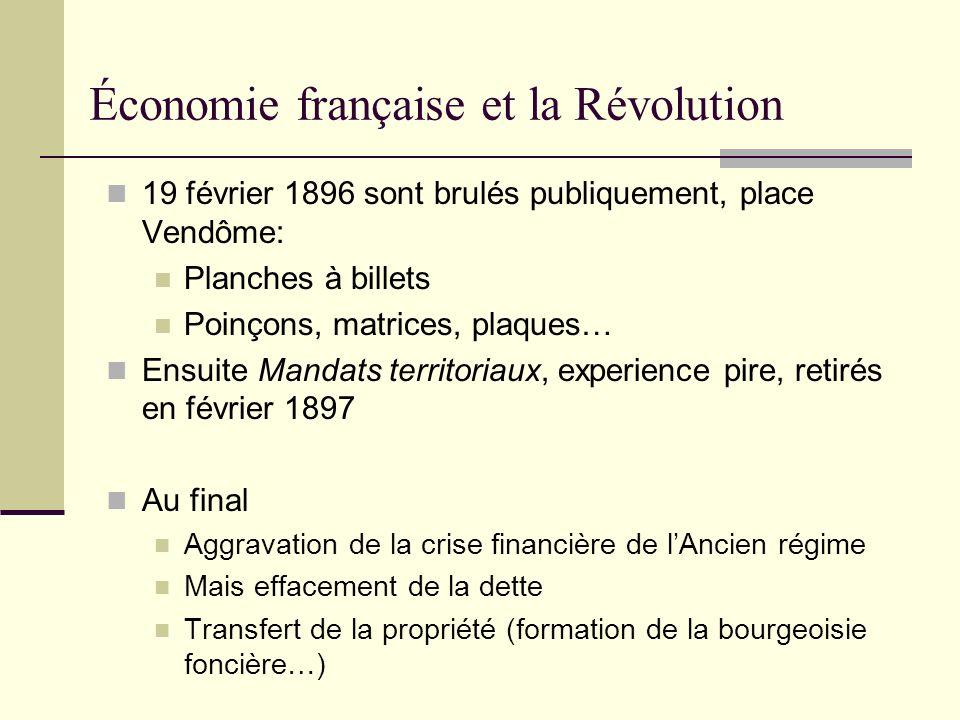 19 février 1896 sont brulés publiquement, place Vendôme: Planches à billets Poinçons, matrices, plaques… Ensuite Mandats territoriaux, experience pire
