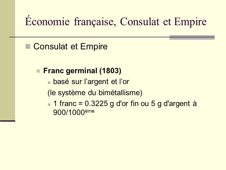 Consulat et Empire Franc germinal (1803) basé sur largent et lor (le système du bimétallisme) 1 franc = 0.3225 g d'or fin ou 5 g d'argent à 900/1000 è