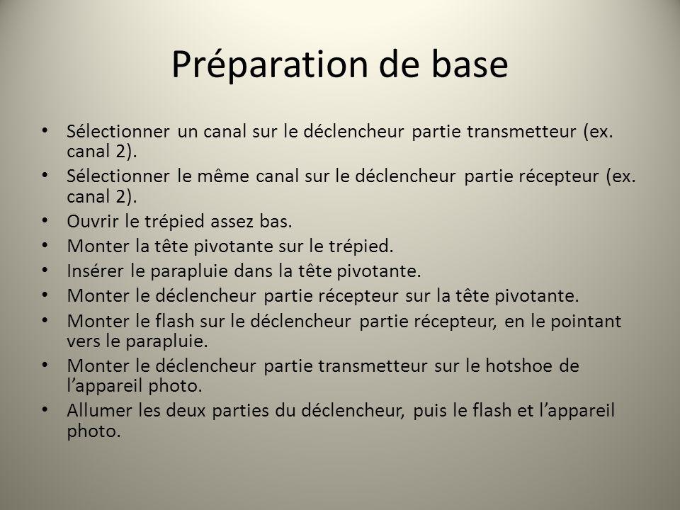 Préparation de base Sélectionner un canal sur le déclencheur partie transmetteur (ex. canal 2). Sélectionner le même canal sur le déclencheur partie r