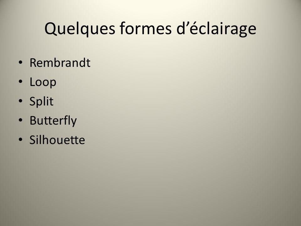 Quelques formes déclairage Rembrandt Loop Split Butterfly Silhouette