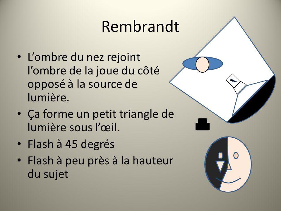 Rembrandt Lombre du nez rejoint lombre de la joue du côté opposé à la source de lumière. Ça forme un petit triangle de lumière sous lœil. Flash à 45 d