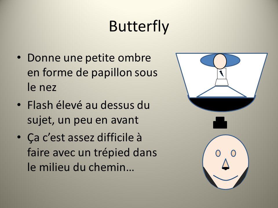 Butterfly Donne une petite ombre en forme de papillon sous le nez Flash élevé au dessus du sujet, un peu en avant Ça cest assez difficile à faire avec