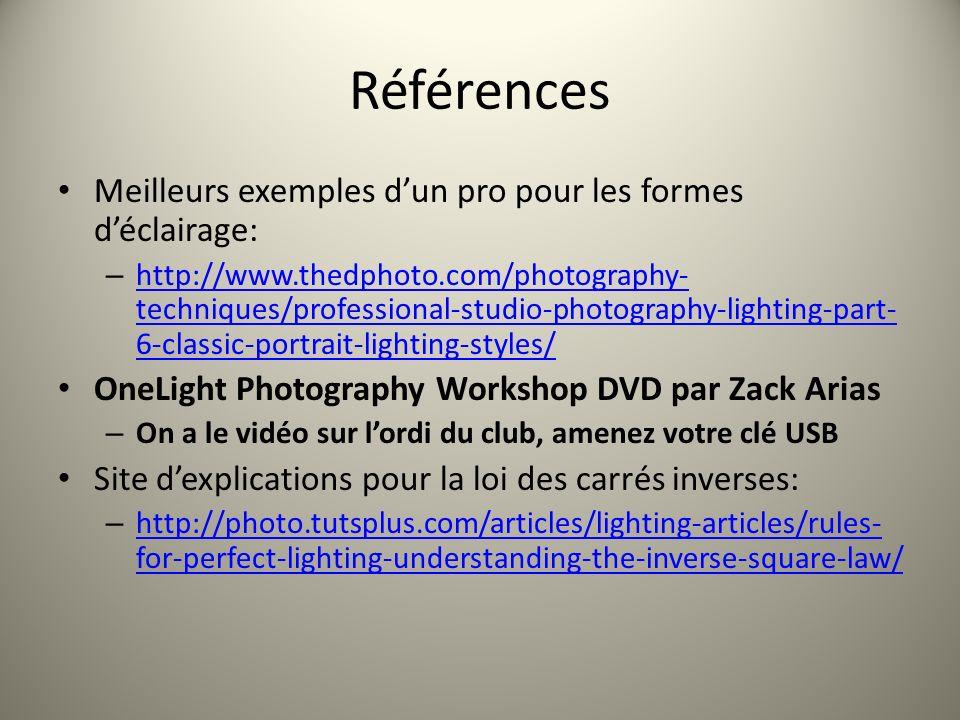 Références Meilleurs exemples dun pro pour les formes déclairage: – http://www.thedphoto.com/photography- techniques/professional-studio-photography-l