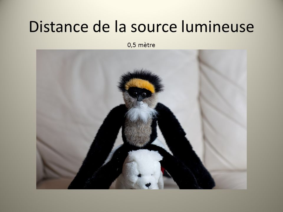Distance de la source lumineuse 0,5 mètre