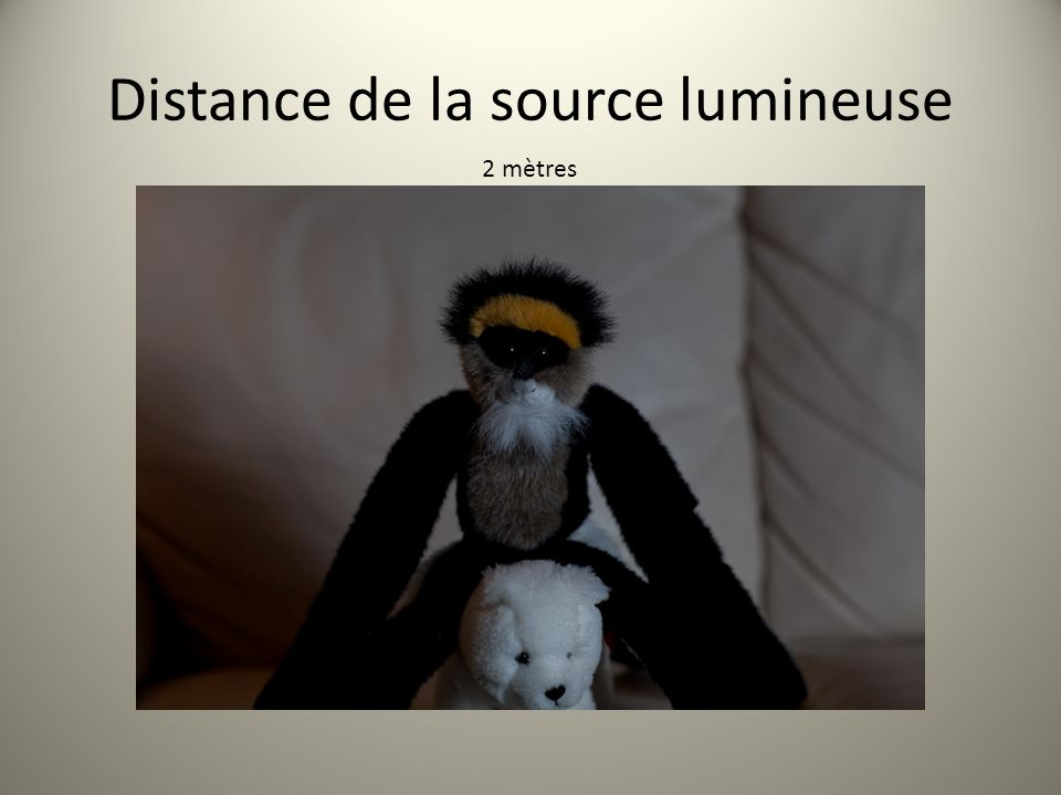 Distance de la source lumineuse 2 mètres