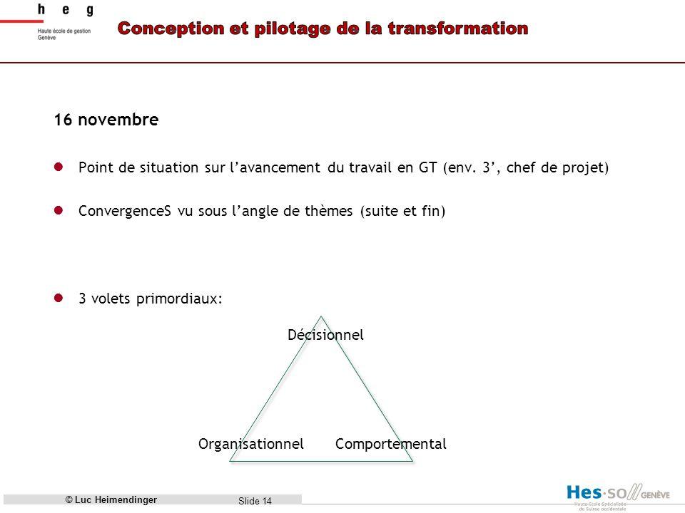 Slide 14 16 novembre Point de situation sur lavancement du travail en GT (env.