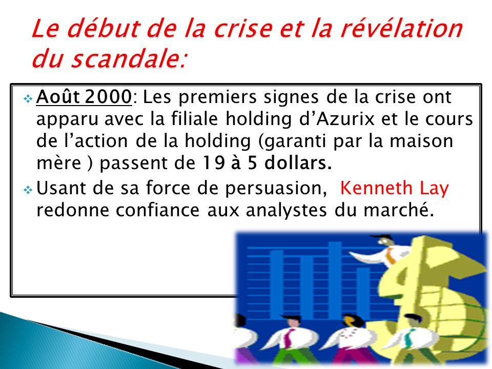 Août 2000: Les premiers signes de la crise ont apparu avec la filiale holding dAzurix et le cours de laction de la holding (garanti par la maison mère ) passent de 19 à 5 dollars.