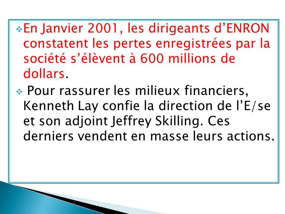 En Janvier 2001, les dirigeants dENRON constatent les pertes enregistrées par la société sélèvent à 600 millions de dollars. Pour rassurer les milieux