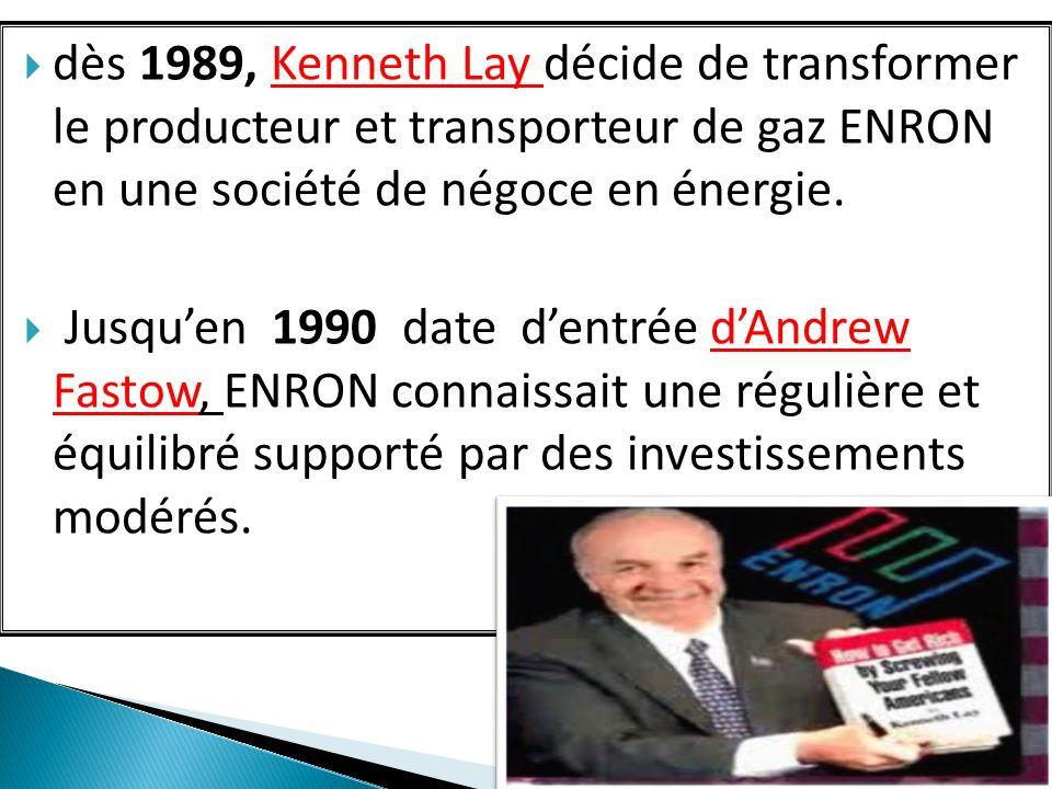 dès 1989, Kenneth Lay décide de transformer le producteur et transporteur de gaz ENRON en une société de négoce en énergie. Jusquen 1990 date dentrée
