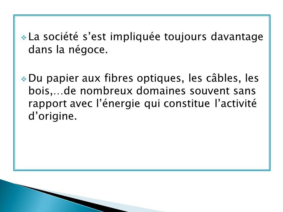La société sest impliquée toujours davantage dans la négoce. Du papier aux fibres optiques, les câbles, les bois,…de nombreux domaines souvent sans ra