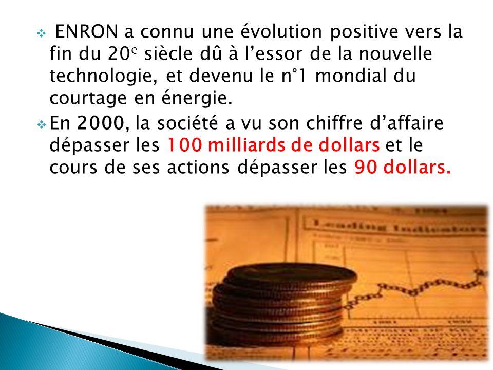 ENRON a connu une évolution positive vers la fin du 20 e siècle dû à lessor de la nouvelle technologie, et devenu le n°1 mondial du courtage en énergie.