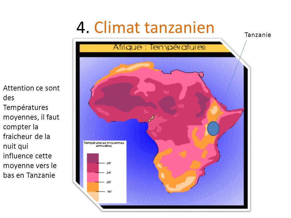 4. Climat tanzanien Attention ce sont des Températures moyennes, il faut compter la fraicheur de la nuit qui influence cette moyenne vers le bas en Ta