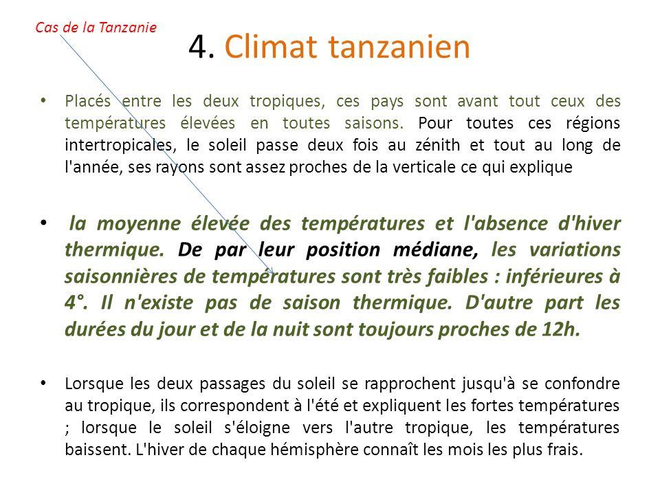 4. Climat tanzanien Placés entre les deux tropiques, ces pays sont avant tout ceux des températures élevées en toutes saisons. Pour toutes ces régions