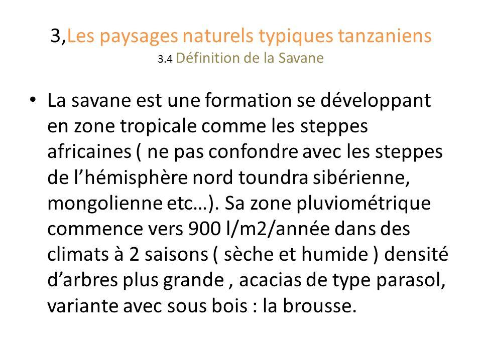 3,Les paysages naturels typiques tanzaniens 3.4 Définition de la Savane La savane est une formation se développant en zone tropicale comme les steppes