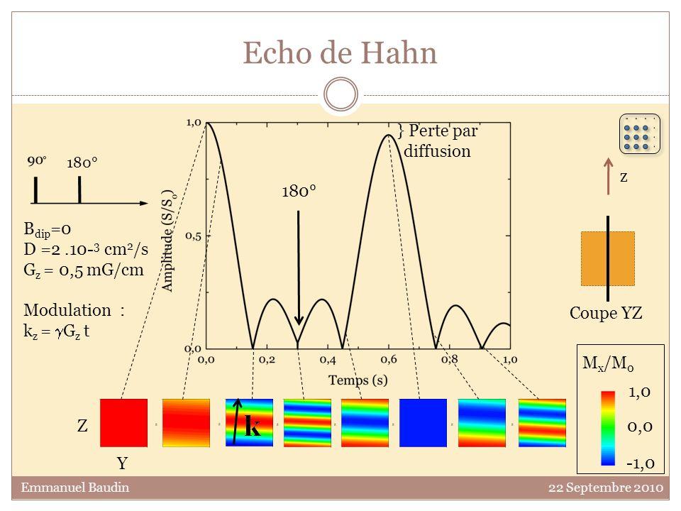 Echo de Hahn 0,0 1,0 -1,0 M x /M 0 Y Z B dip =0 D =2.10- 3 cm 2 /s G z = 0,5 mG/cm Modulation : k z = G z t 180° } Perte par diffusion z Coupe YZ Emma