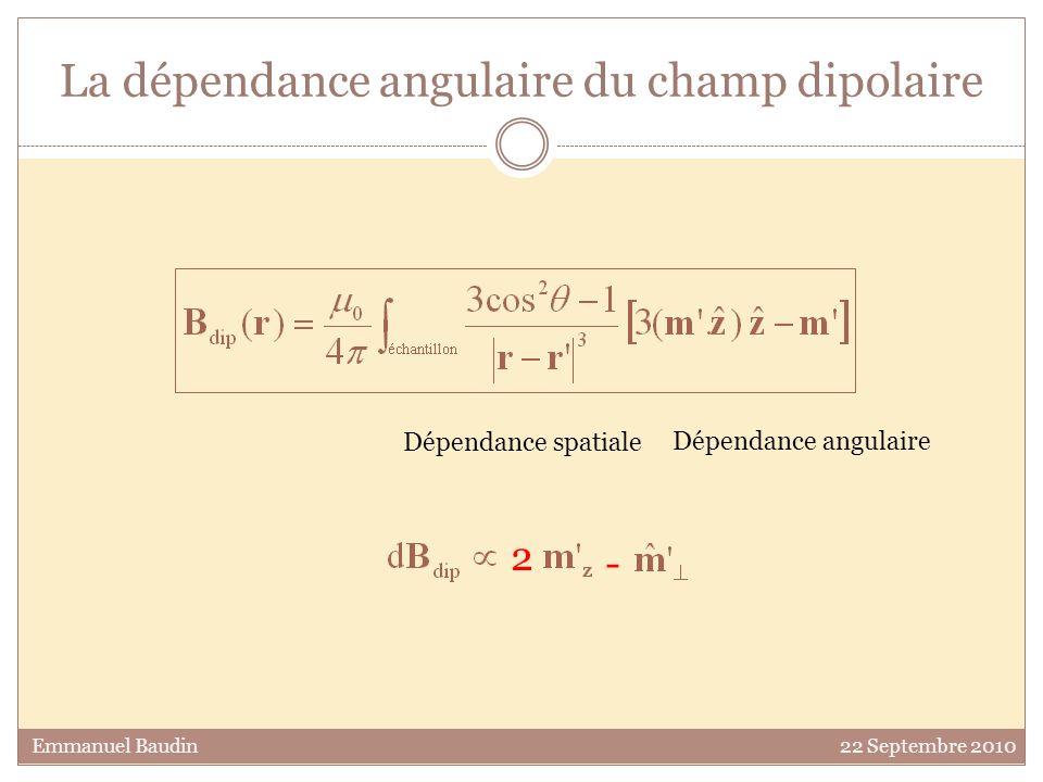 La dépendance angulaire du champ dipolaire Dépendance spatiale Dépendance angulaire Emmanuel Baudin 22 Septembre 2010 2 -