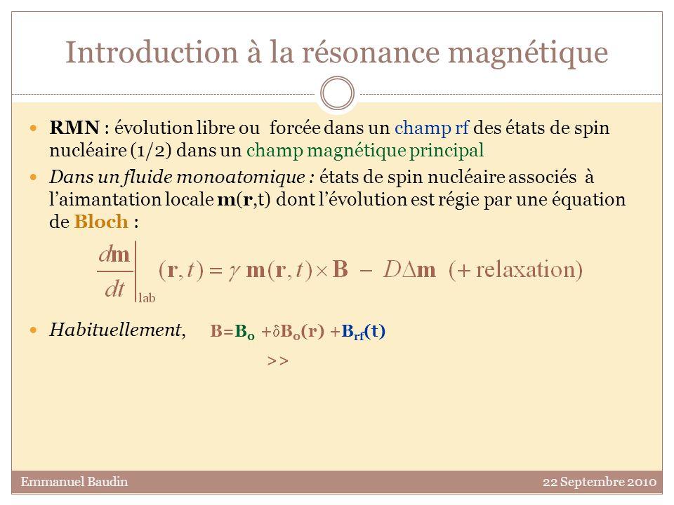 Défaut intrinsèque du sandwich magique 90° : rf x 1 90° : rf x 10 Emmanuel Baudin 22 Septembre 2010 B 0, B rf parfaitement homogènes Renversement idéal