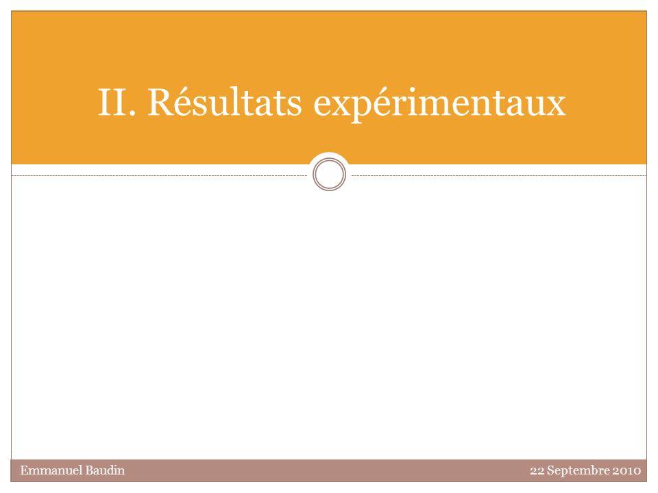 II. Résultats expérimentaux Emmanuel Baudin 22 Septembre 2010