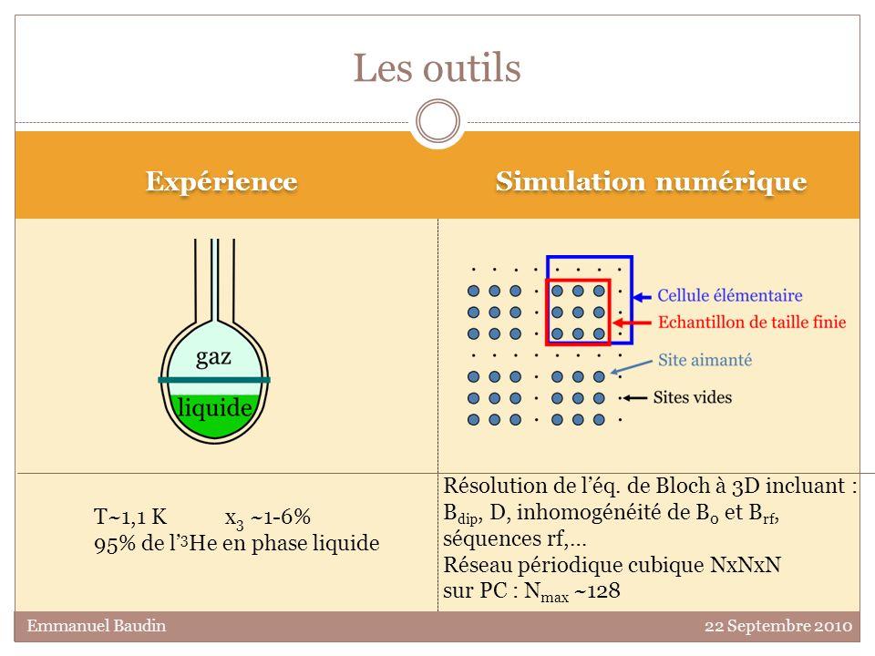Expérience Simulation numérique Les outils Résolution de léq. de Bloch à 3D incluant : B dip, D, inhomogénéité de B 0 et B rf, séquences rf,… Réseau p
