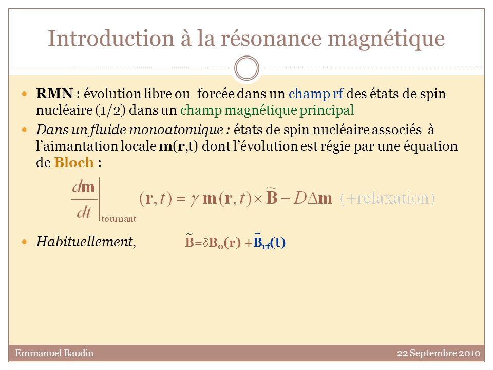 RMN : évolution libre ou forcée dans un champ rf des états de spin nucléaire (1/2) dans un champ magnétique principal Dans un fluide monoatomique : états de spin nucléaire associés à laimantation locale m(r,t) dont lévolution est régie par une équation de Bloch : Introduction à la résonance magnétique A forte densité daimantation, le champ magnétique des autres spins doit être considéré.