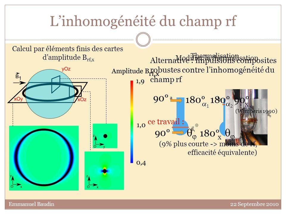 Linhomogénéité du champ rf Emmanuel Baudin 22 Septembre 2010 Thermalisation Calcul par éléments finis des cartes damplitude B rf,x Modifier la thermal
