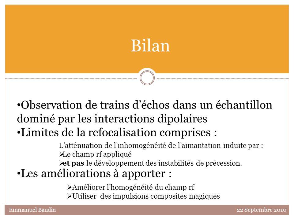 Bilan Observation de trains déchos dans un échantillon dominé par les interactions dipolaires Limites de la refocalisation comprises : Les amélioratio