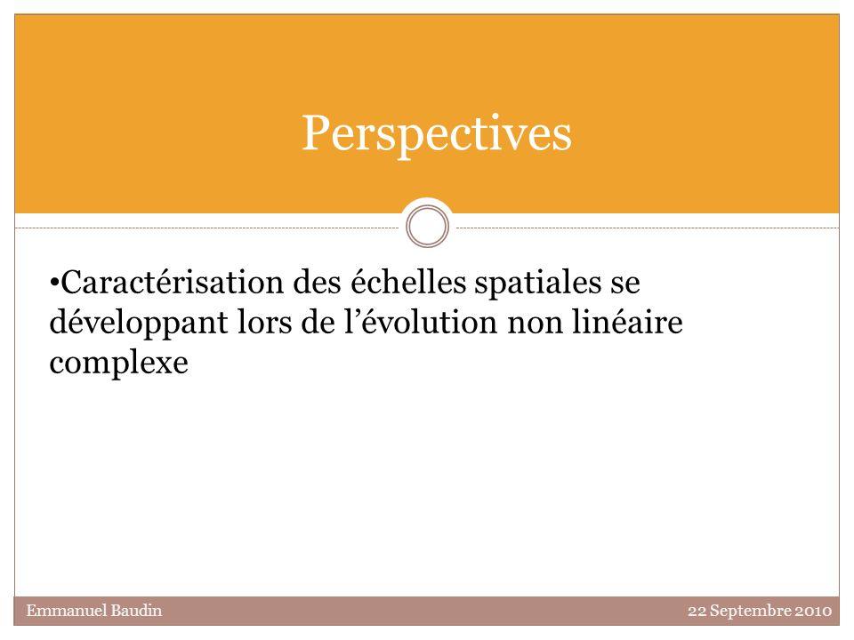 Perspectives Caractérisation des échelles spatiales se développant lors de lévolution non linéaire complexe Emmanuel Baudin 22 Septembre 2010