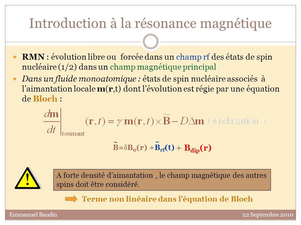 Dynamique RMN non linéaire : le champ dipolaire Champ dipolaire : champ magnétique local créé par lensemble de léchantillon B0B0 r r m m Emmanuel Baudin 22 Septembre 2010