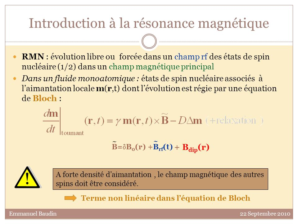 Amplitude du demi-écho vs B dip 0,0 0,2 0,4 0,6 0,81,0 0,0 0,2 0,4 0,6 0,8 1,0 Emmanuel Baudin 22 Septembre 2010 B dip croissants