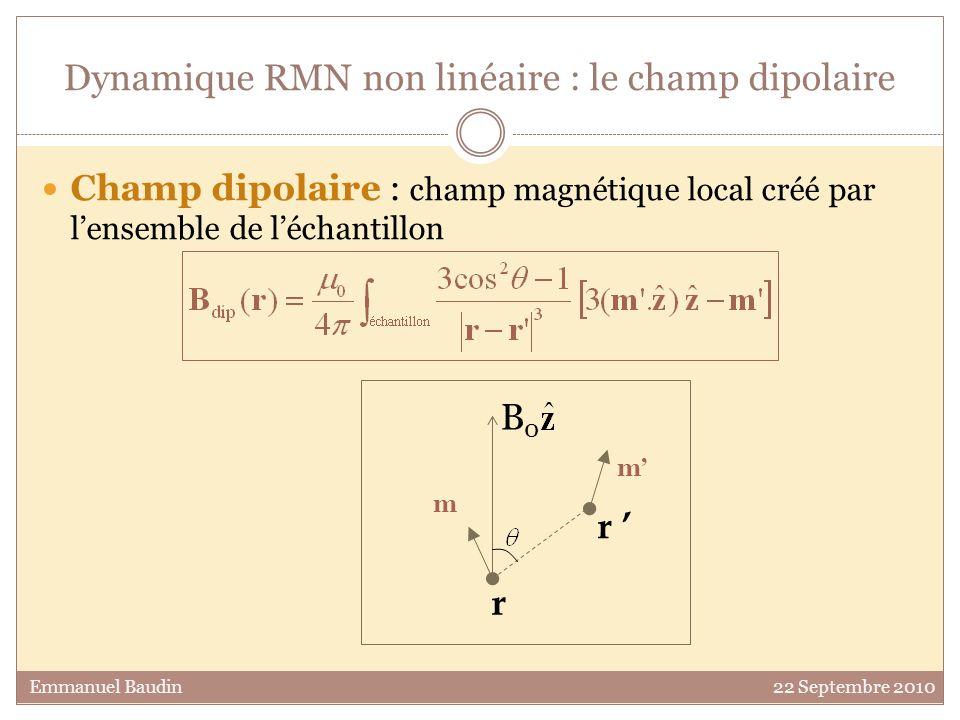 Dynamique RMN non linéaire : le champ dipolaire Champ dipolaire : champ magnétique local créé par lensemble de léchantillon mmol.cm- 3 Emmanuel Baudin 22 Septembre 2010 Dans les mélanges d 3 He- 4 He : B dip ~µ 0.P.