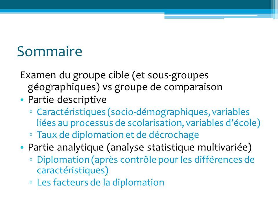 Sommaire Examen du groupe cible (et sous-groupes géographiques) vs groupe de comparaison Partie descriptive Caractéristiques (socio-démographiques, va