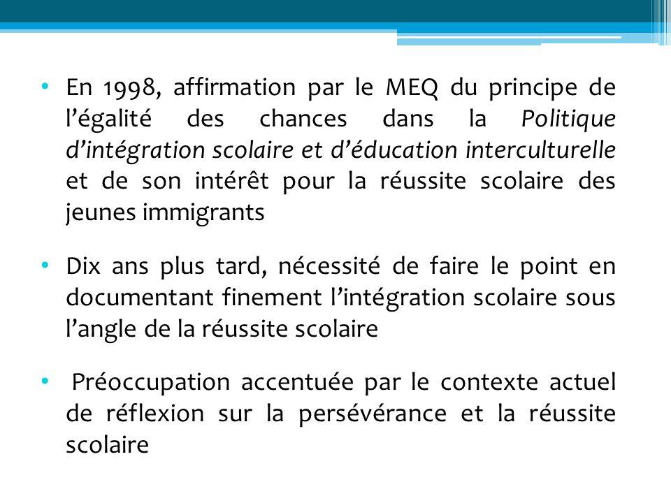 En 1998, affirmation par le MEQ du principe de légalité des chances dans la Politique dintégration scolaire et déducation interculturelle et de son in